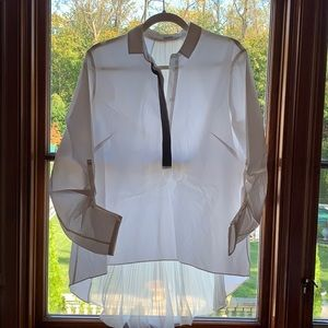 Elie Tahari white poplin high low one size shirt
